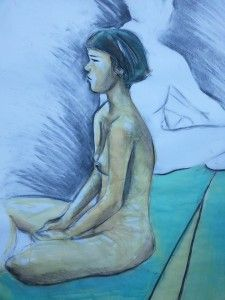 Nude female ink charcoal seated paper
