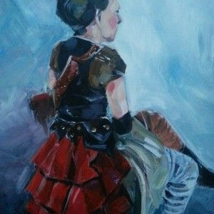 steam punk, acrylic, canvas, seated, female, clothed, colour