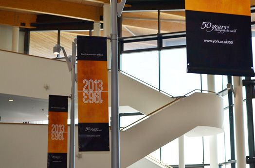 Branded banners at the Festival of Ideas