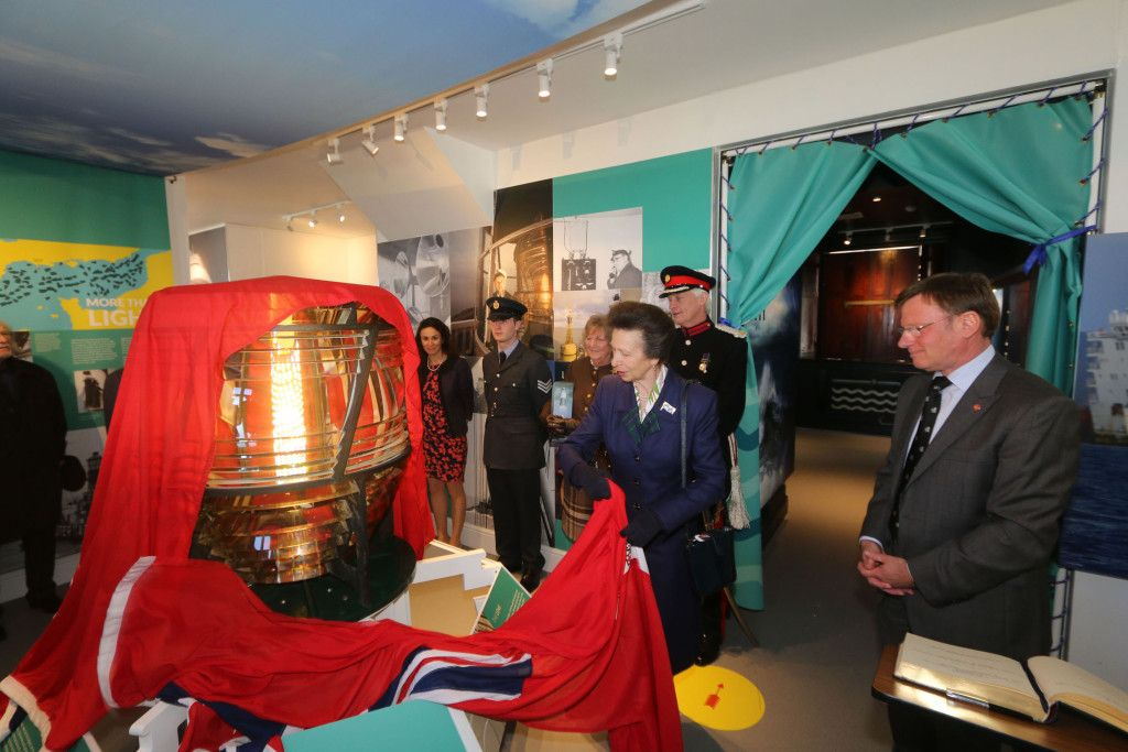 Princess Anne unveils the lens at the launch of the visitor centre