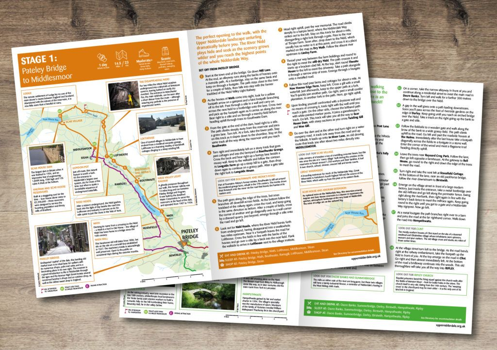 Spreads from the Nidderdale Way walking guide