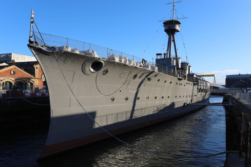 HMS Caroline moored in Belfast Docks